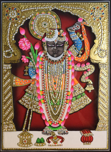 Shreenathji Shrinathji Rajbhog Hand Wood Painting Gold Leaf Large Wood Painting With Frame, Size: 17*21