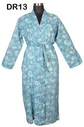 Cotton Hand Block Print Long Kimono Robes Dressing Gowns Bridesmaids Dr13
