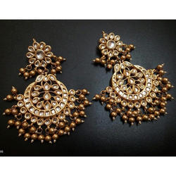 Gold Plated Dangler Kundan Women Ethnic Earring Set