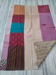 Plain And Printed Vintage Kantha Quilt