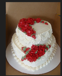 Red And White 2 Tier Heart Shape Love Cake With Red Roses, Shape: Heart