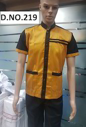 Yellow Colour Restaurant Uniform With Brown Linings And Patches