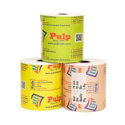 PULP Dot Matrix Paper Rolls Width:74 mm Dia:70 mm 1 Ply