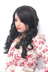 Women Synthetic Black Natural Wavy Curly Hair Wig