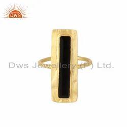Glazed Brik Gold Plated Silver Natural Black Onyx Gemstone Rings