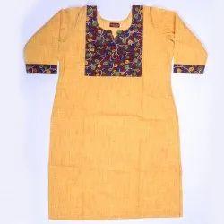 Casual Wear Regular Slub Cotton Kurti, Wash Care: Handwash