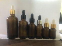 50ML Amber Glass Bottle with Golden Aluminum Dropper Set