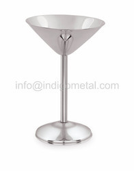 SILVER & COPPER MARTINI GLASS - STAINLESS STEEL, For BAR, Size: 177ML