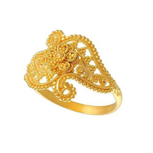 Designer Womens Engagement Golden Ring Design at Rs piece