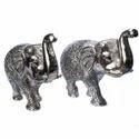 White Metal Elephant Set, For Interior Decor