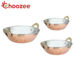 Choozee -Steel Copper Serving Kadhai Set of 3 Pcs (400ML, 600ML and 800Ml)