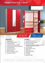 Brown Wardrobe 3 Door Powder Coated Metal, For Home, Model Name/Number: Standard