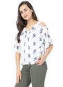 Georgette Printed Cold Shoulder Top