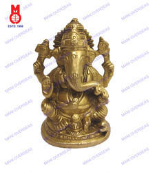 Lord Ganesha Sitting Shah On Oval Base Statue