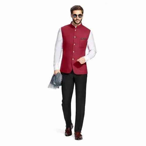 Khadi Cotton Party Wear Red Nehru Jacket