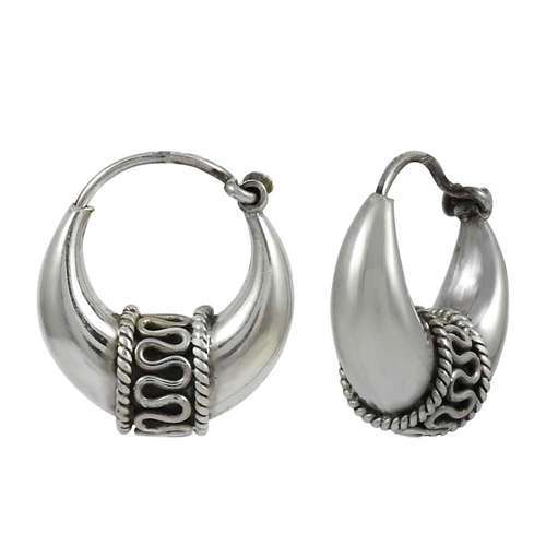 Pearl India International Large Silver Hoop Earrings Weight 9 5 Gm Size 3 1