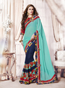 Cyan Half Color Saree
