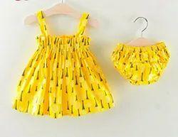 Casual Wear yellow Kids Cotton Frock