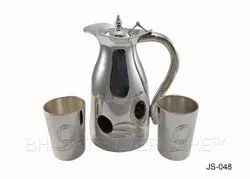 Pure Silver Jug Set With Black Agate Decoration