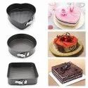 Black 3 Pcs Cake Mould (heart, Round & Square), For Baking