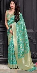 India Attires As Shown In The Image Silk Jacquard Banarasi with Heavy Embroidery Border Wedding Wear Saree