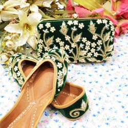 Green Preal work Handmade Punjabi Jutti with Maching Clutch