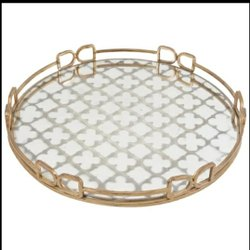 Brass with Mirror Glass Tray 14