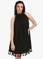 Cotton Sleeveless Black One Piece Dress, Size: S and M