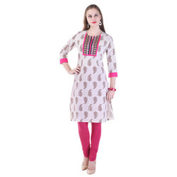 Cotton Embroidered Printed Kurti