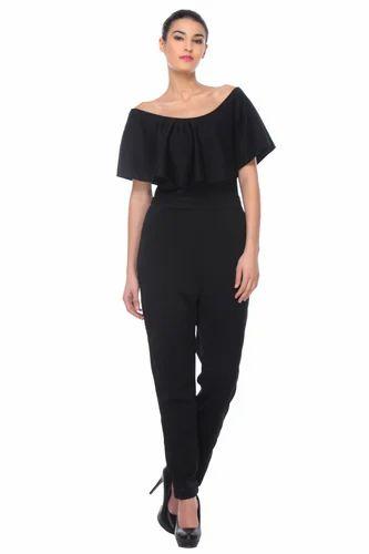 8adfcc4c1b33a Women Polyster Black Plain Off Shoulder Jumpsuit, Rs 560 /piece | ID ...