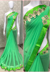 Georgette Green Saree