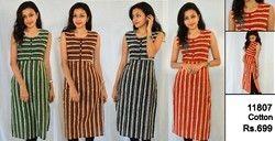 Strips Printed Cotton Kurti