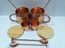 100% Pure Copper Mug Set Of 10 Pcs, Size: 8.5 X 10 Cms