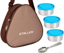 Stallion Stainless Steel 3 in 1 Triangle Insulated Tiffin, Capacity: 600 mL