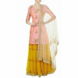 Light Pink And Yellow Ladies Designer Silk Suit