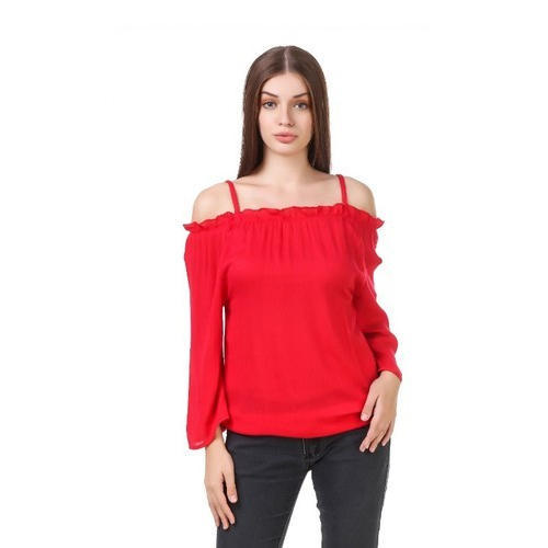 f244ab1c2f9f98 Orange Plain Ladies Red Off Shoulder Tops