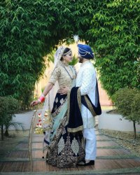 Bridal Wear Navy Blue Velvet Lehenga with Embroidered Work with Moti Lace