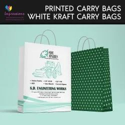 White Kraft Paper Carry bags