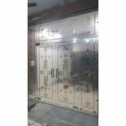 Transparent Heavy Duty Door Toughened Glass, Shape: Flat
