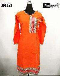 Long Angrakha Style Cotton Kurti