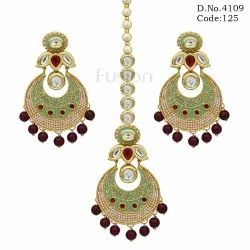 Meenakari Fashion Designer Earring Tikka Combo Set