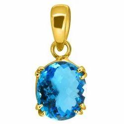 Blue Topaz Pendant For Men Asthdhatu Gemstone