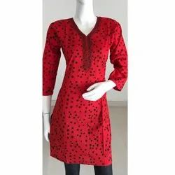 Red Polka Dot Cotton Kurti