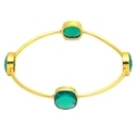 Nanplanetsilver Green Onyx Gold Vermeil Gemstone Bangle