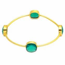 Green Onyx Gold Vermeil Gemstone Bangle