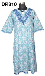 Cotton Hand Block Print Hand Embroidery Women's Long Dress DR310