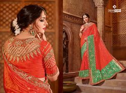 Indian Women Orange & Green Color Silk Jacquard Saree