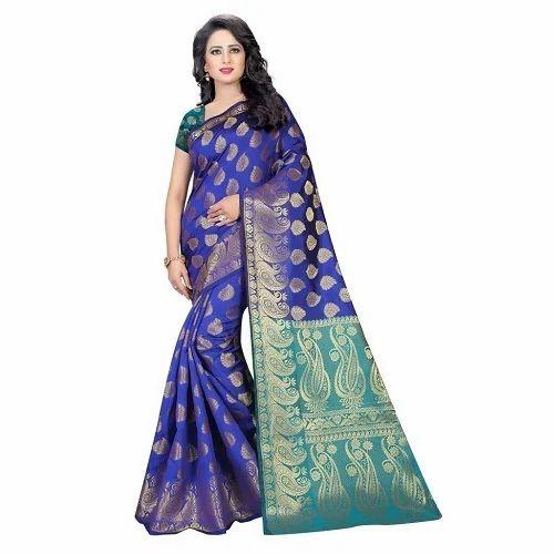 f889014889d83 Party Wear Printed Cotton Silk Jacquard Saree (Rich Pallu)