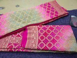 Dupion Wedding Wear Pure Banarsi Silk Saree, Length: 6 m (with blouse piece)