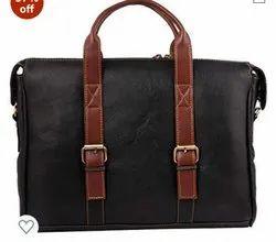 P.B.F Black Leather Belt Type Laptop Bags